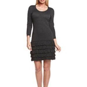 Calvin Klein Black Sweater Dress With Fringe